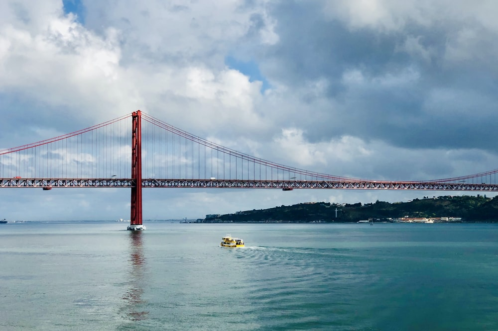 landscape photography of red suspension bridge
