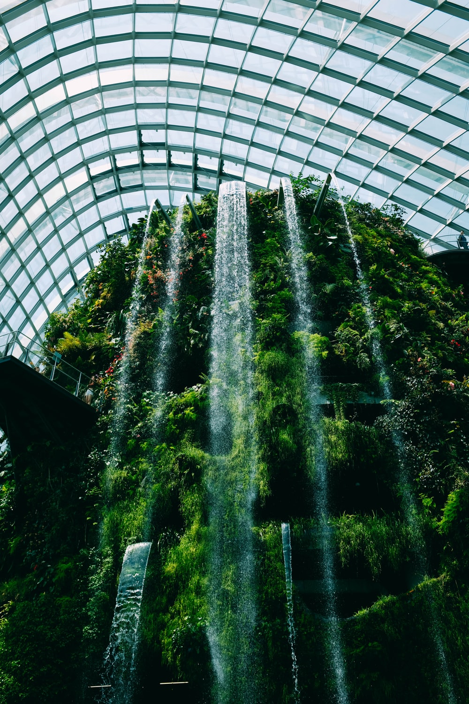 waterfalls inside building