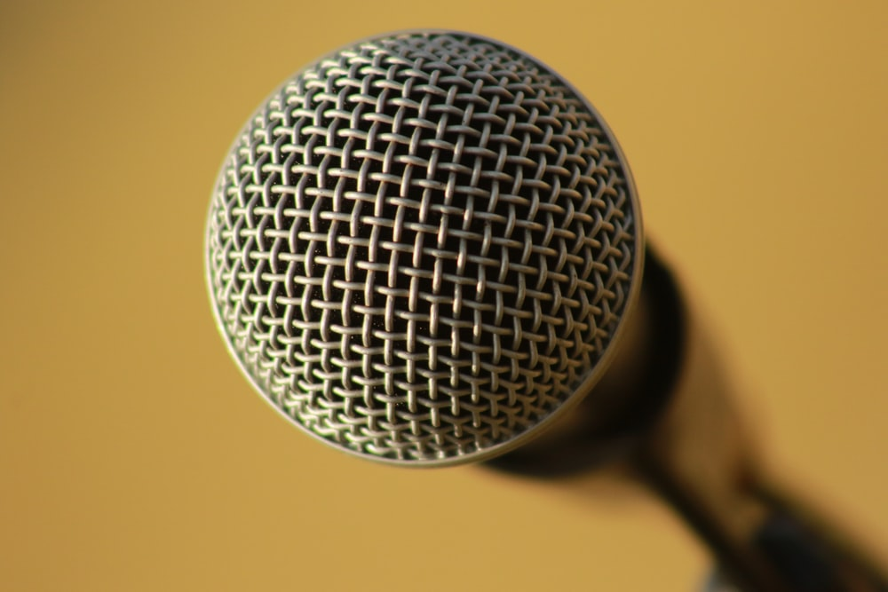 selective focus photography of dynamic microphone