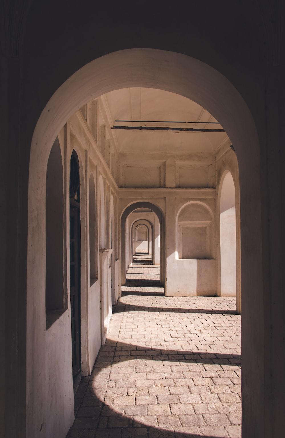gray concrete hallway