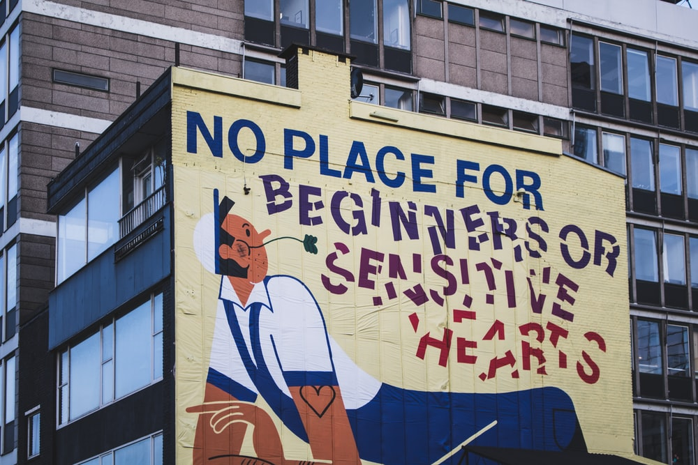 no place for beginners or sensitive hearts mural