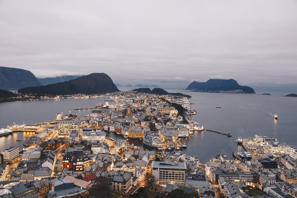 bird's-eye view photo of city near ocean