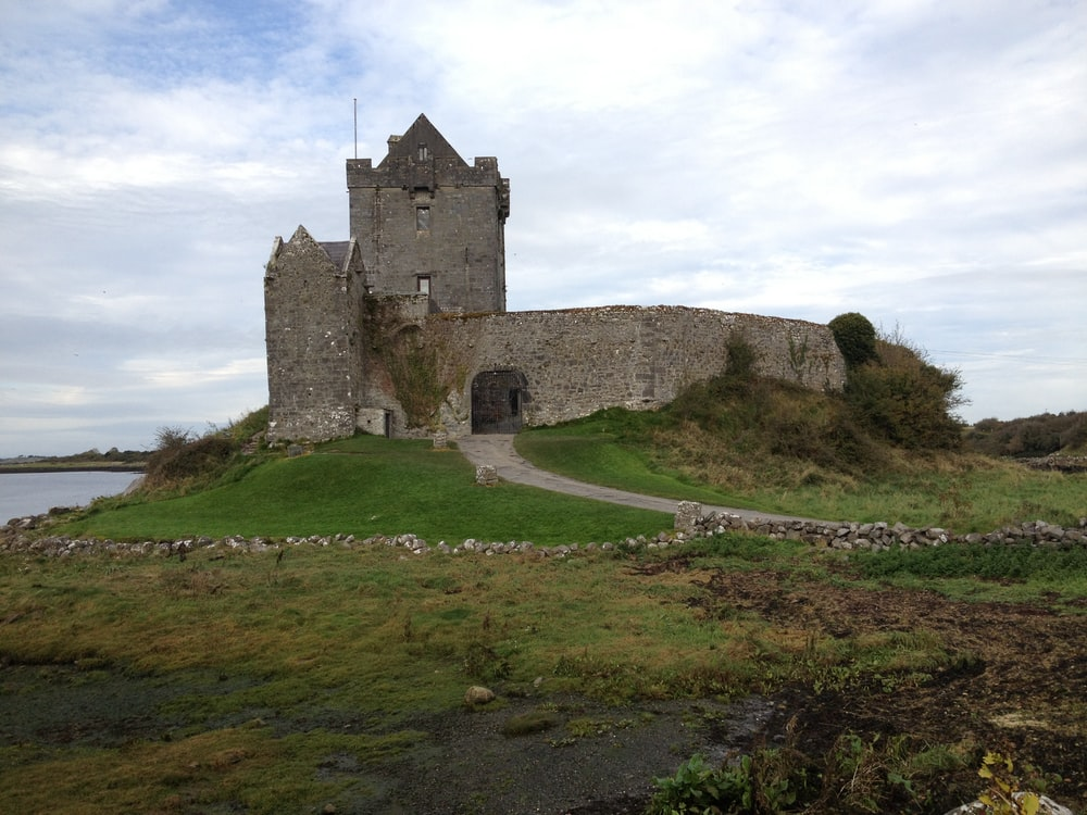 brown castle beside body of water