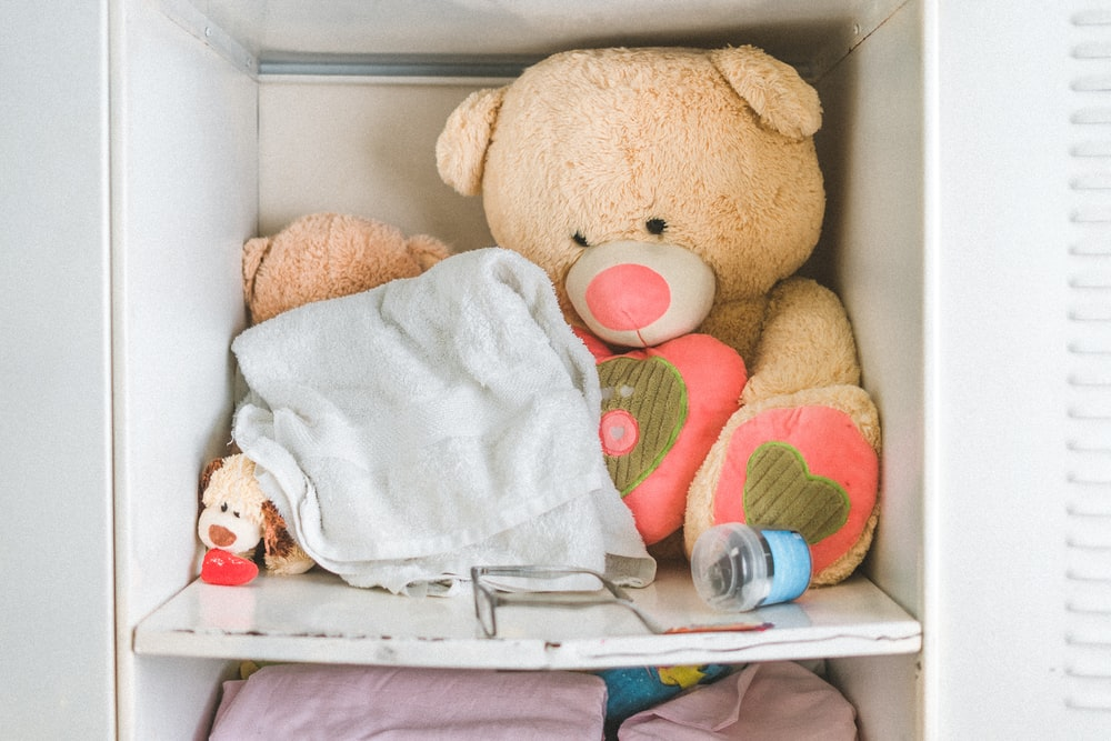 brown and pink teddy bear in white cabinet