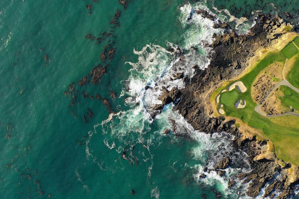 aerial view of ocean