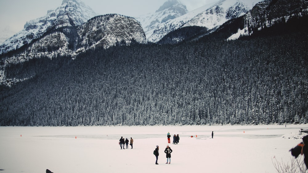 people standing on snow
