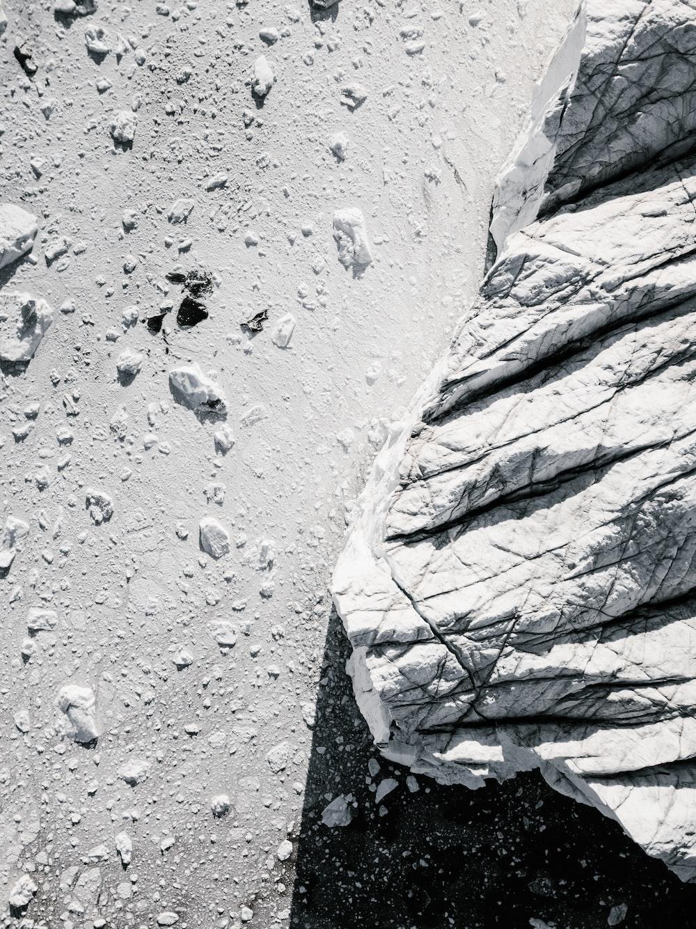 white stone with snows