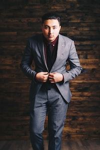 men's black formal suit jacket