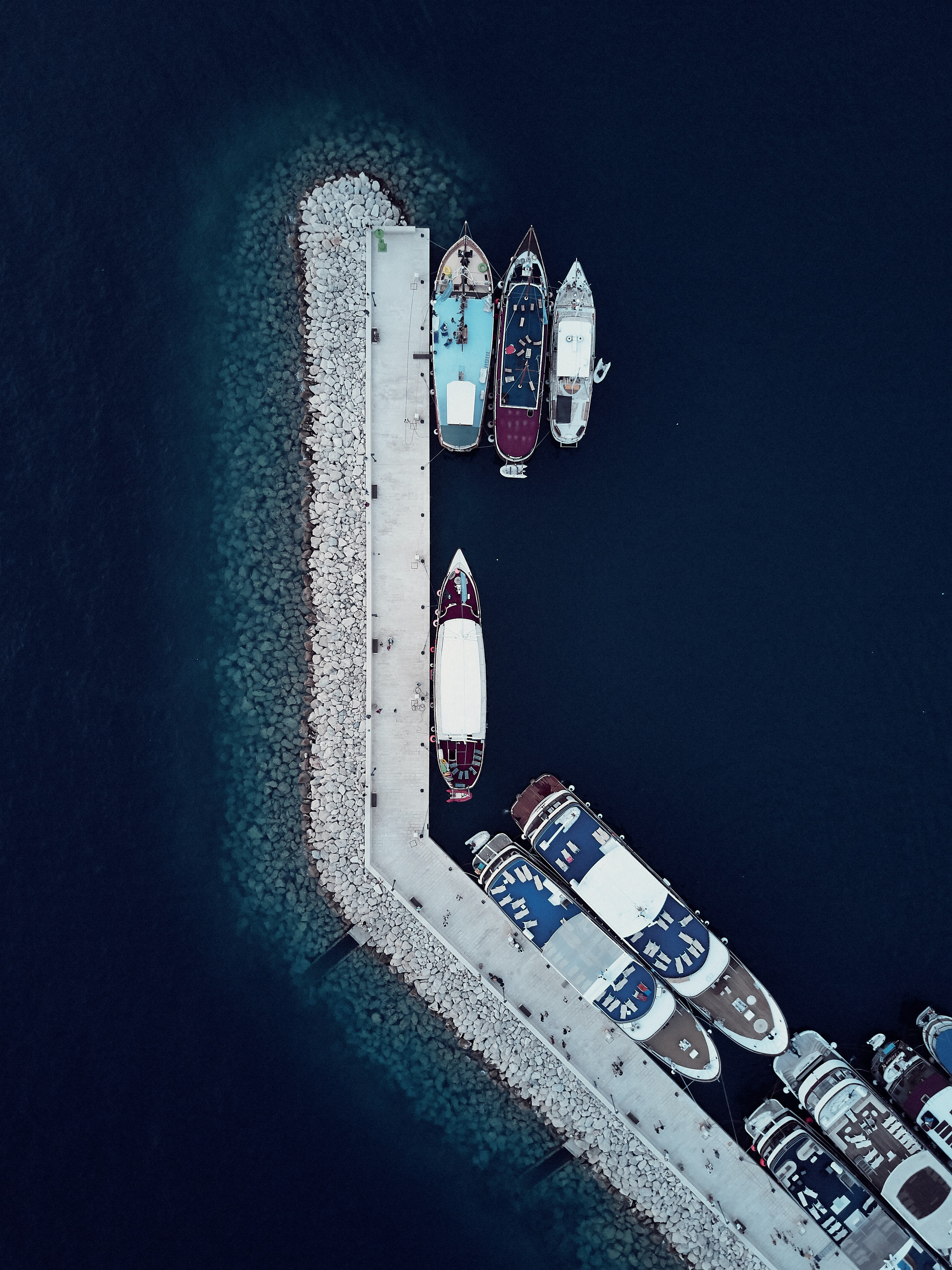aerial photogrraphy of ship port