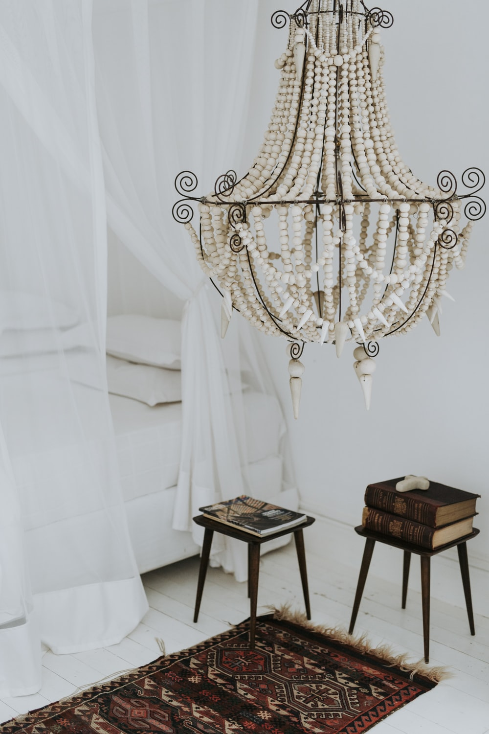 white beaded hanging decor