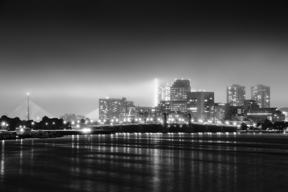 grayscale photography of cityscape