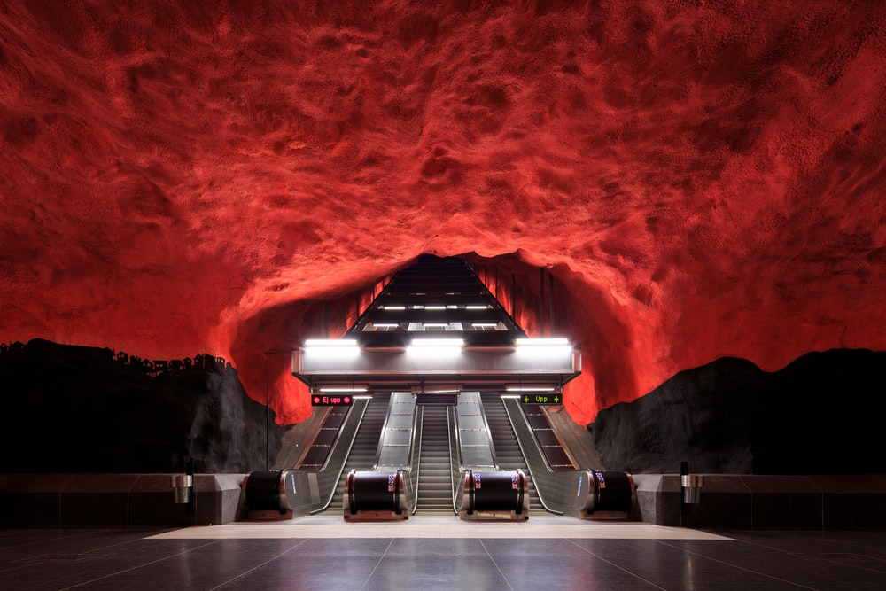 gray escalator with no people
