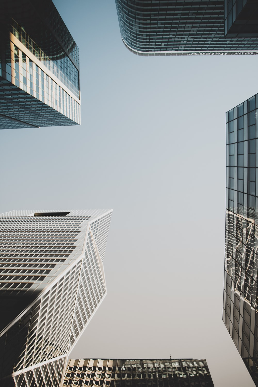 low angle photography of concrete buildings