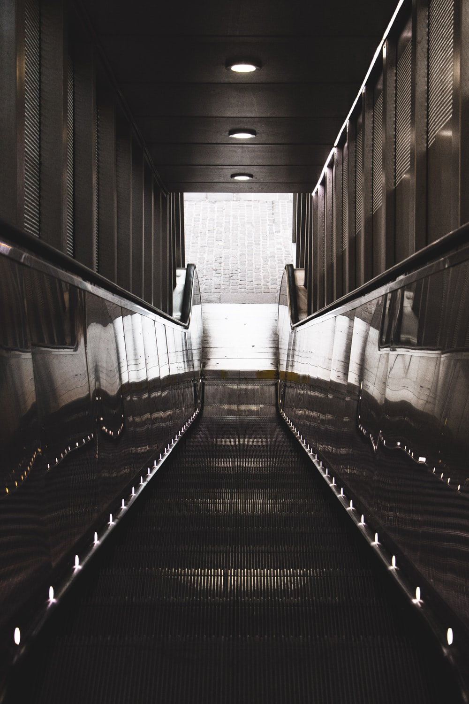 grayscale photography of empty elevator