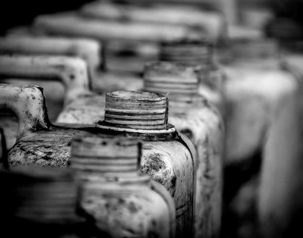 grayscale photography gallons