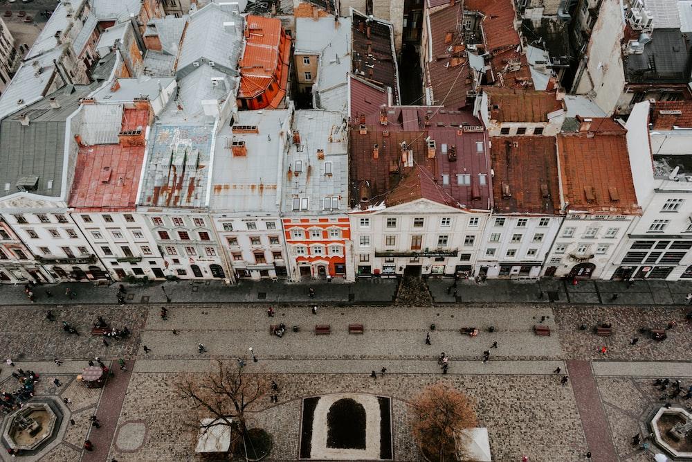 top view of concrete buildings