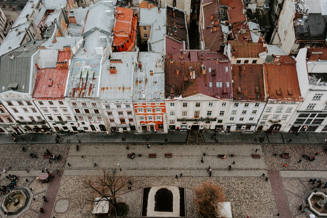 Aerial view of Rynok square: Attractions to cover in Lviv.