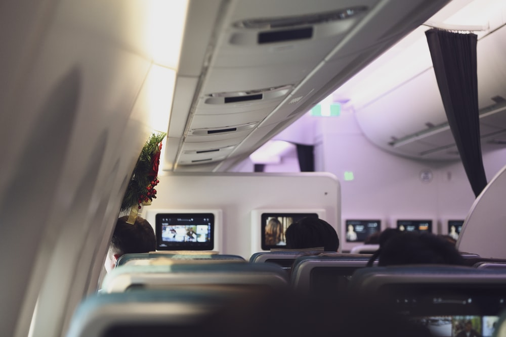 passenger sitting inside aircraft