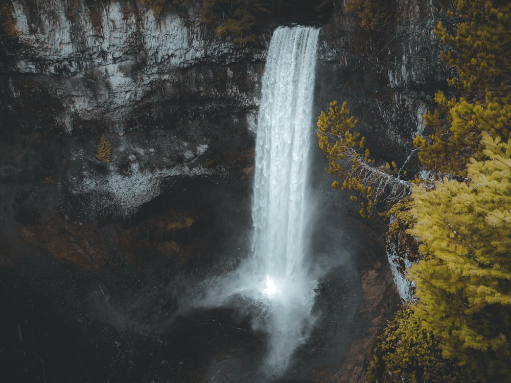 aerial photography of waterfalls during daytime