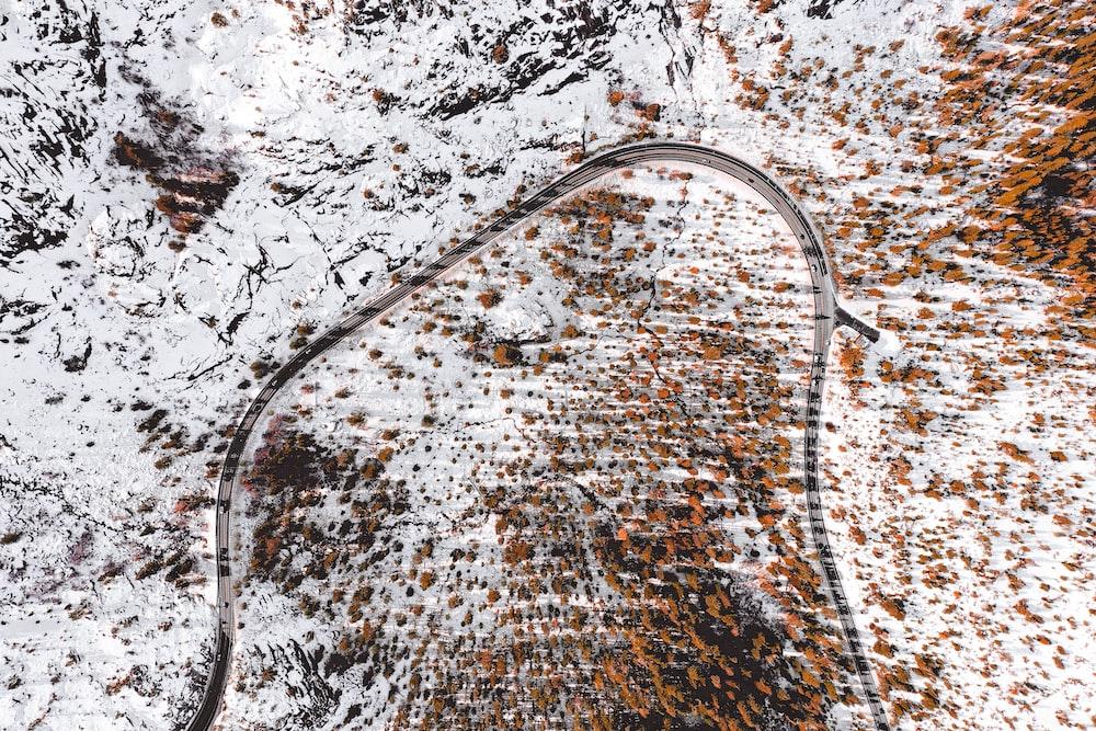 bird's-eye view photo of road on mountain