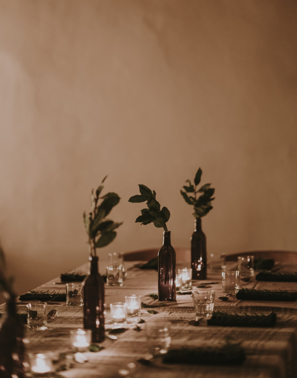 plants in bottle vases by turned on tealights on table