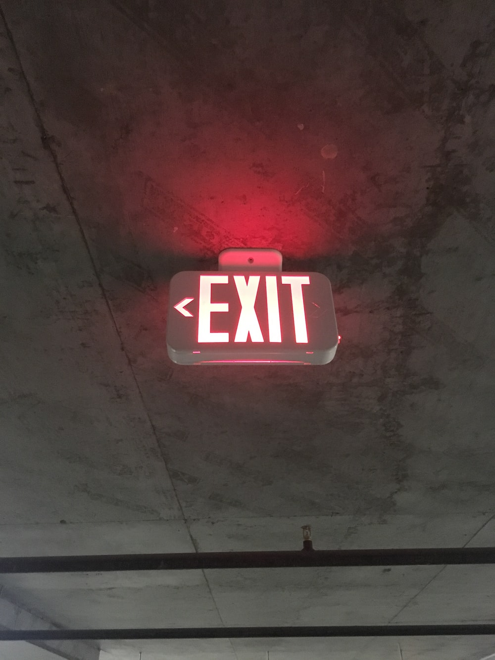 red Exit lighted sign