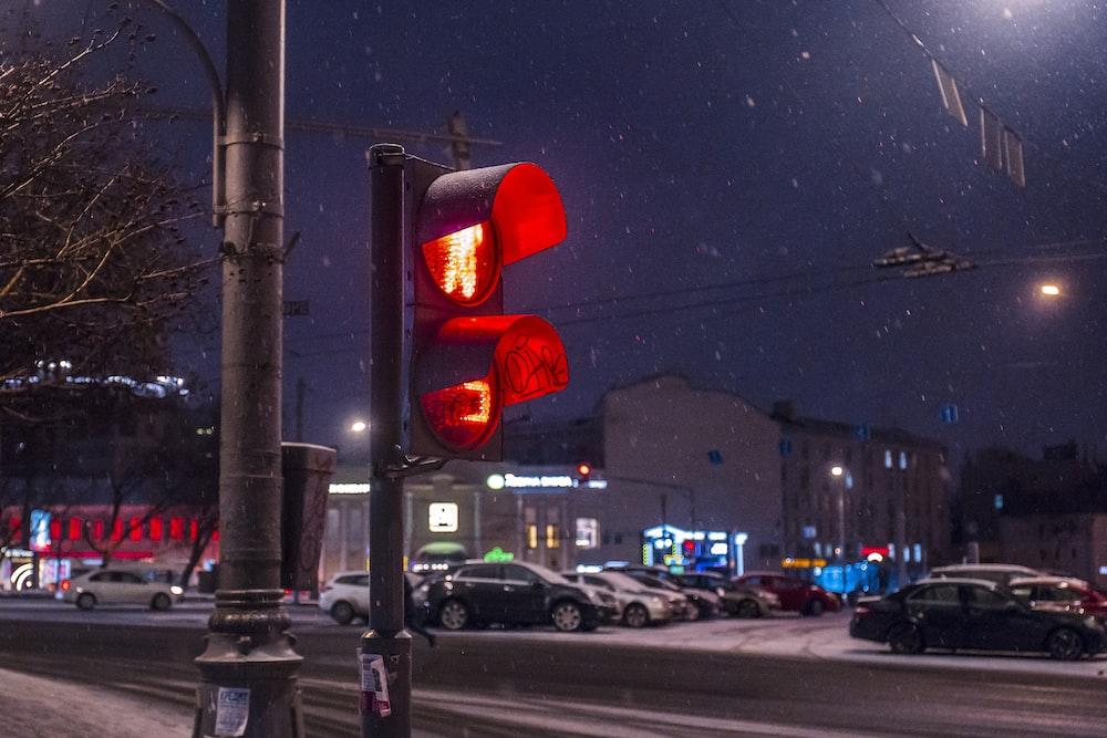 red walk light signage