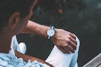men's white and blue polo shirt