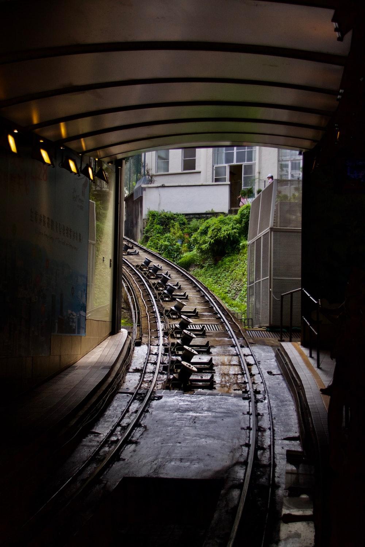 train rails during daytime
