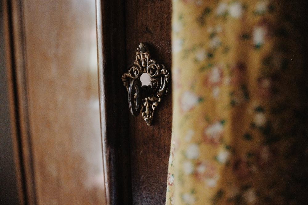 silver-colored door knocker