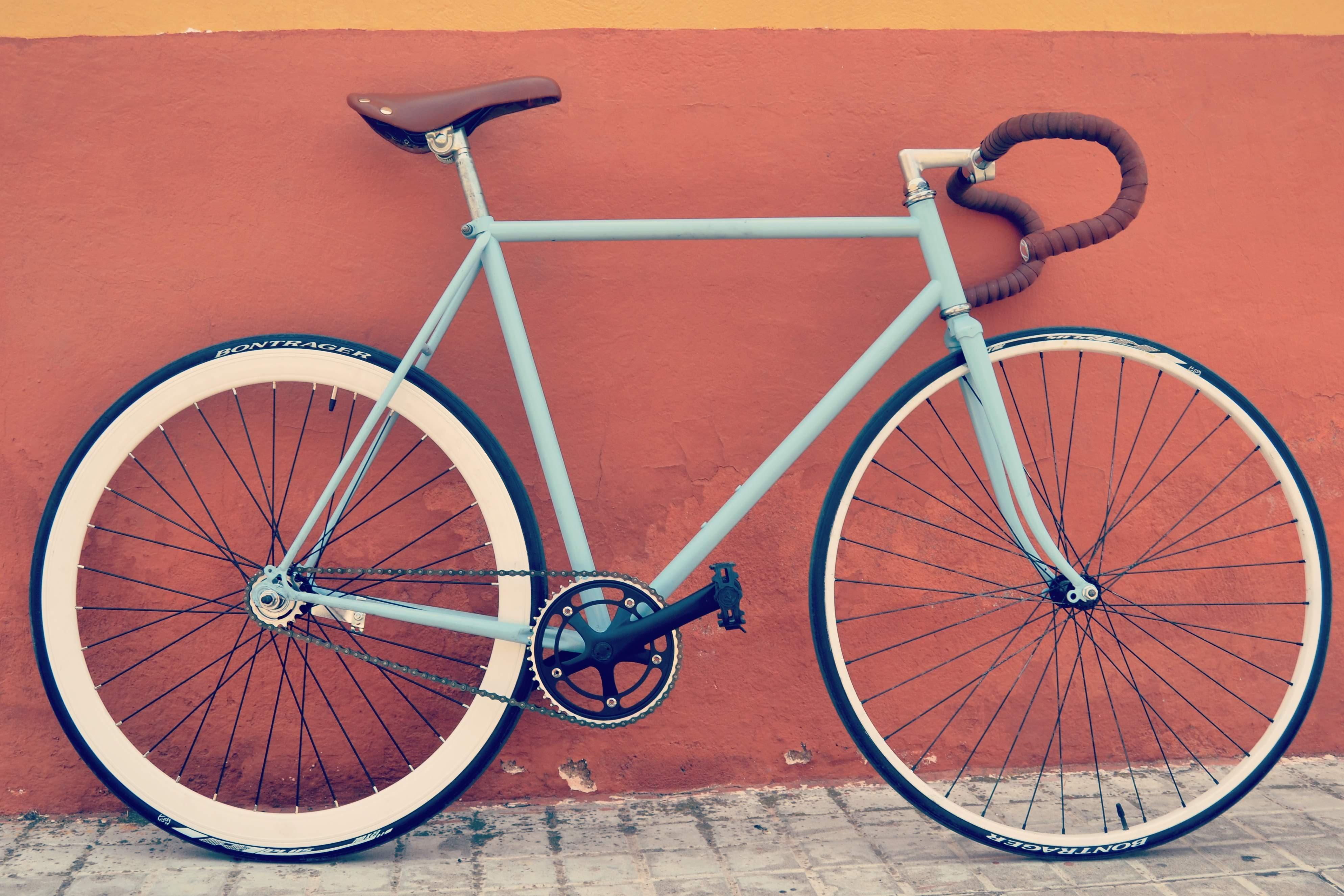 teal and grey road bike