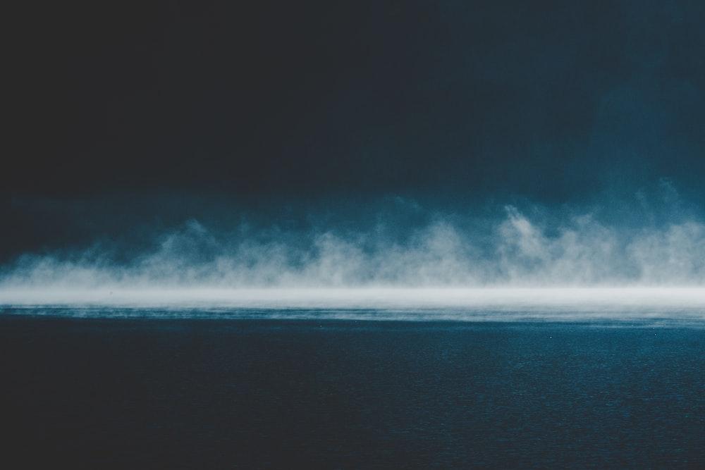 white fog over ocean