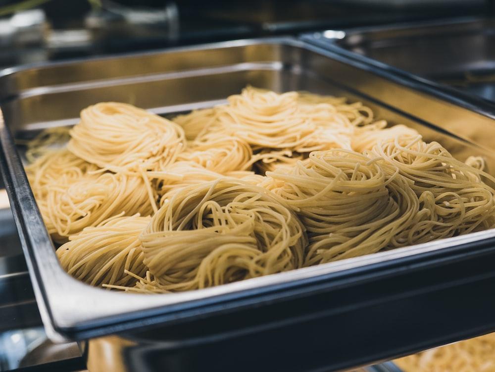 pasta on tray