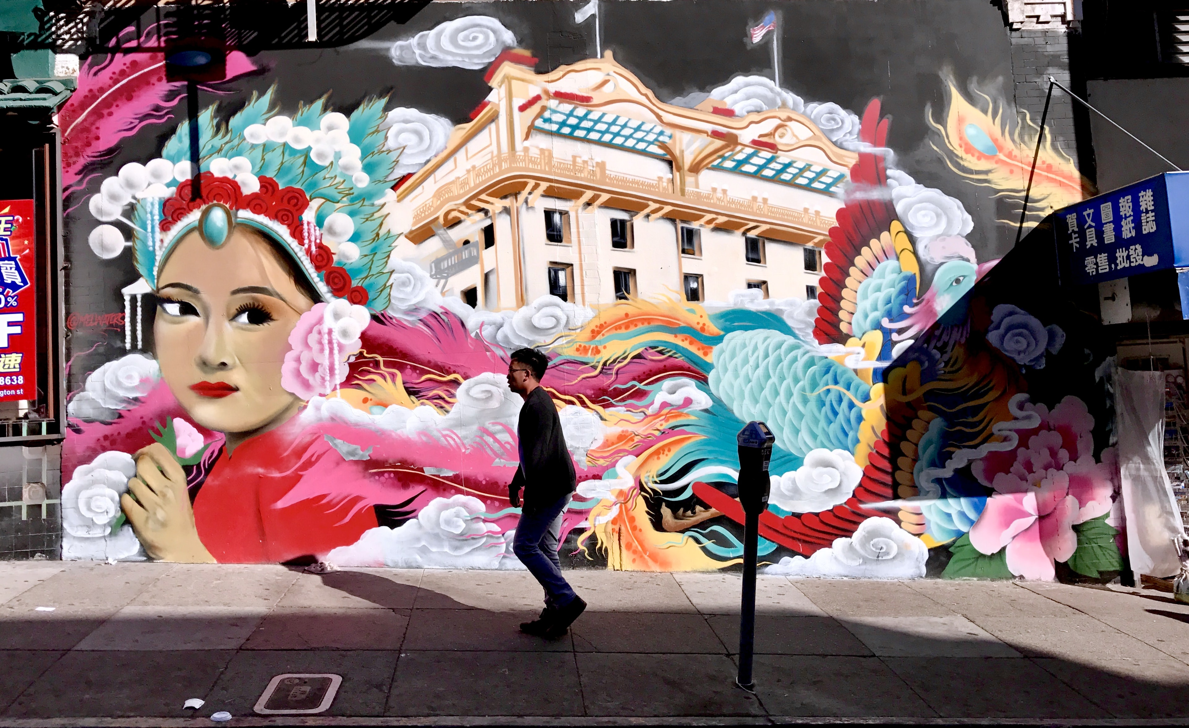 man standing in front of female mural