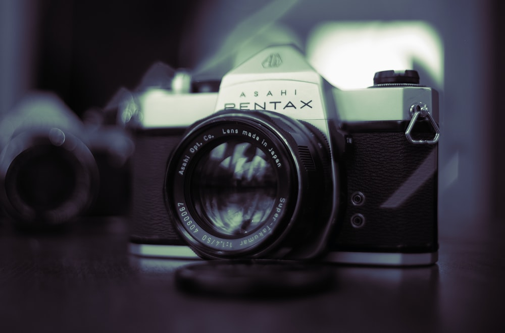 black Asahi Pentax SLR camera