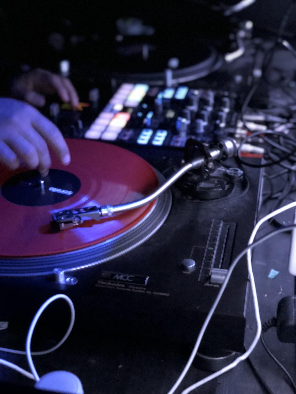 DJ playing on turntable