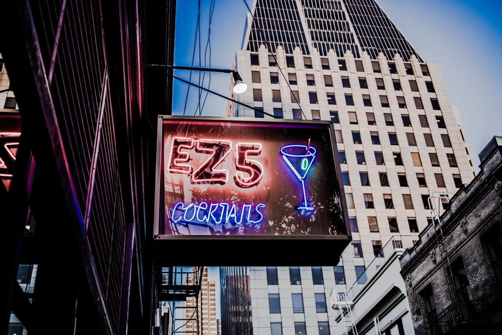 EZ5 Cocktails LED signage turned on