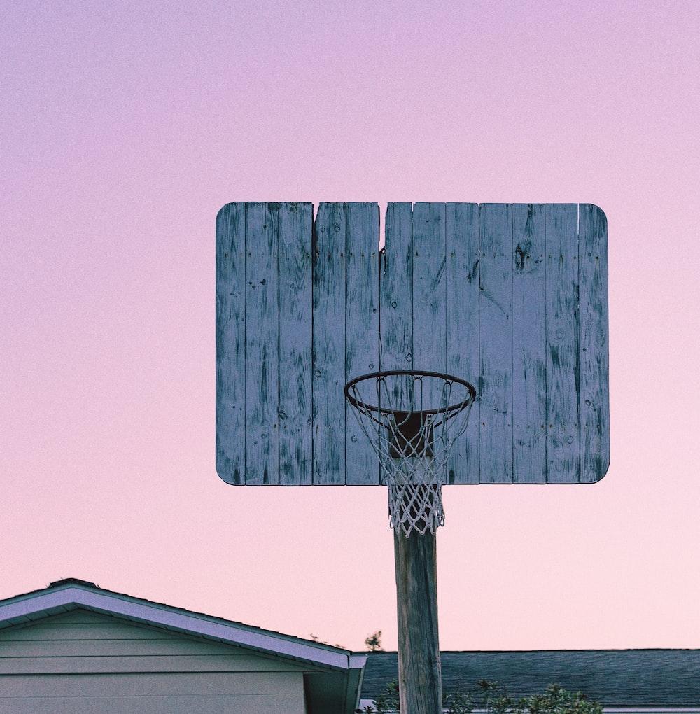 white wooden basketball hoop