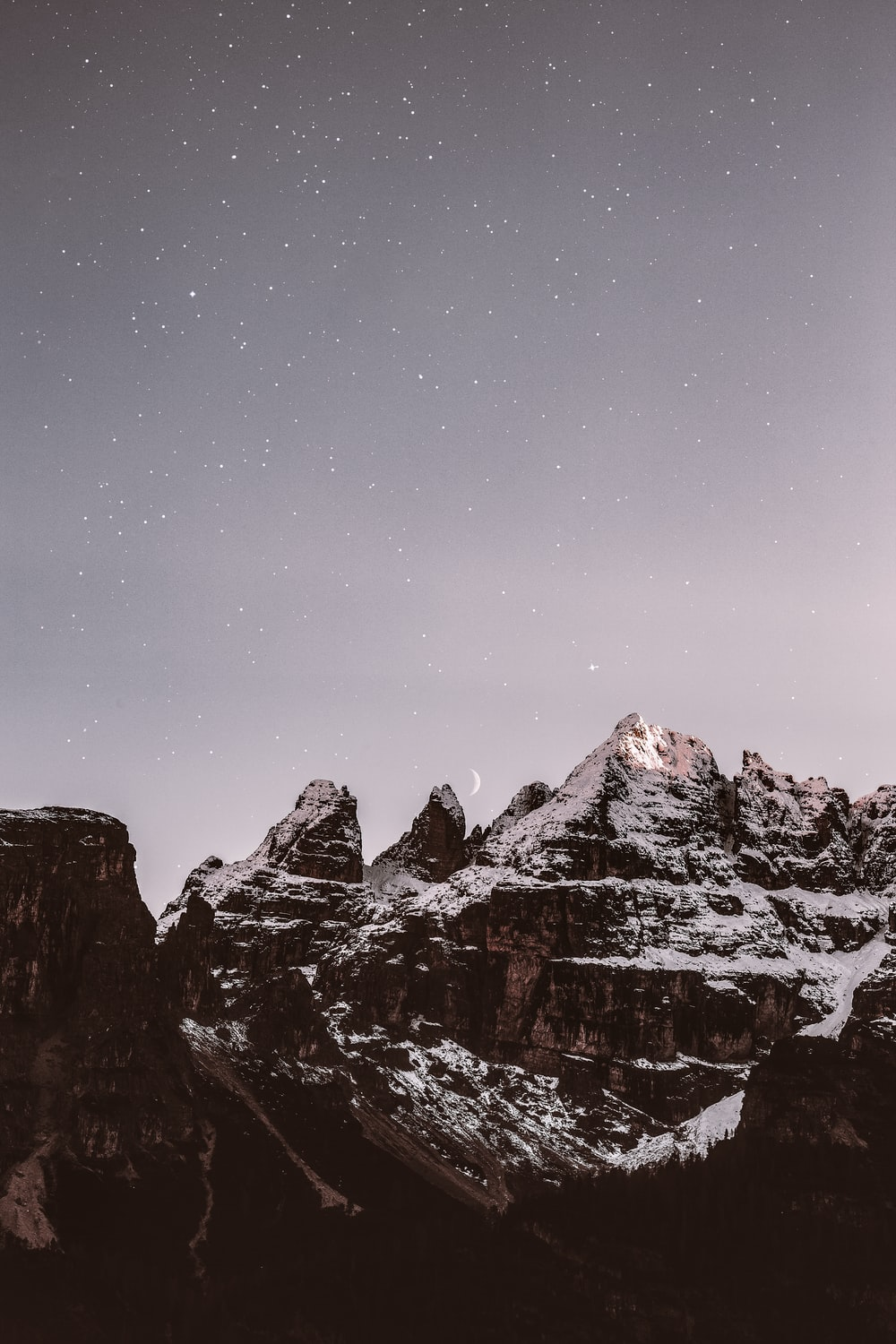 mountain range covered by snow during nighttime