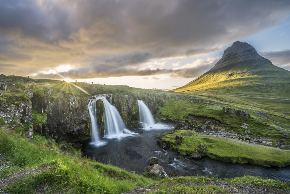 waterfalls and mountain