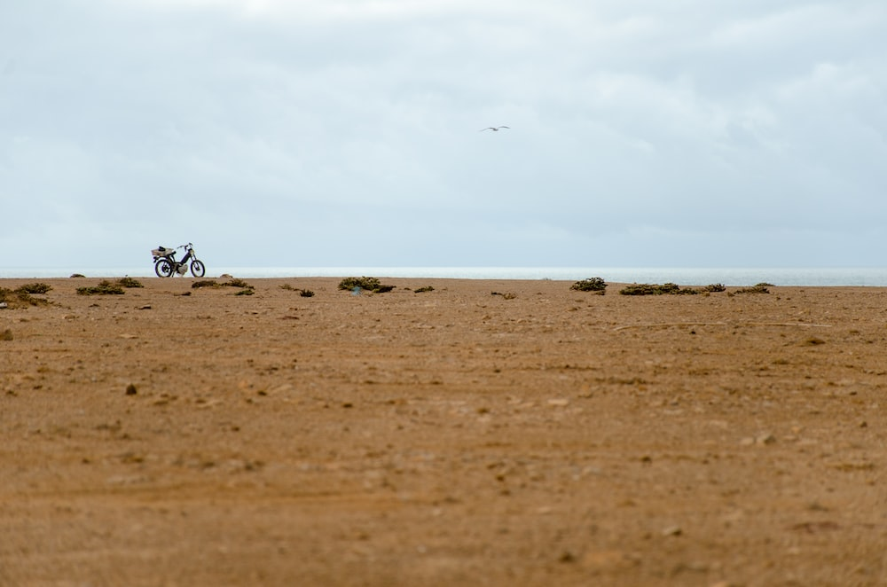 motorcycle in the middle of desert