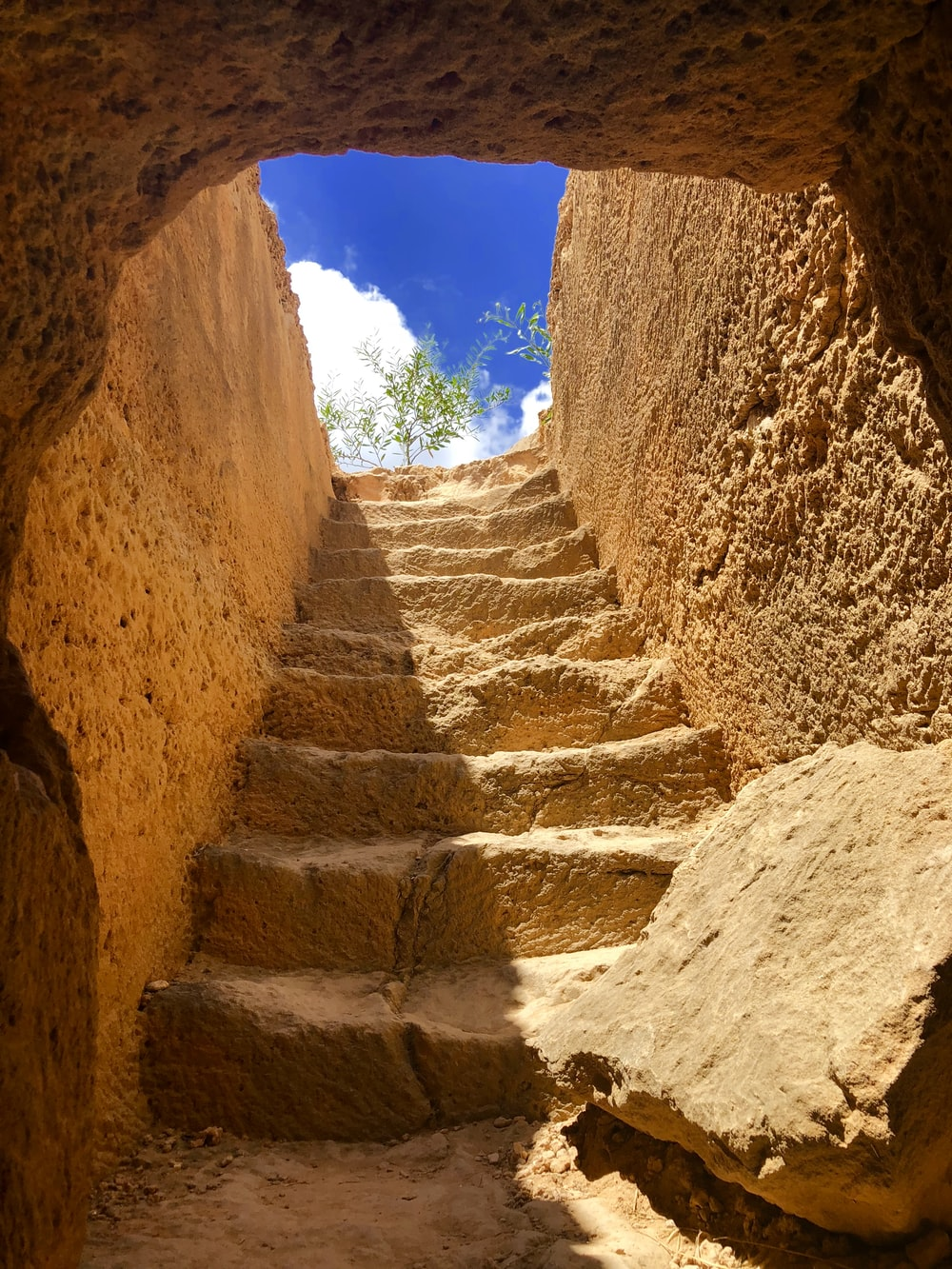 photo of staircase and blue sky