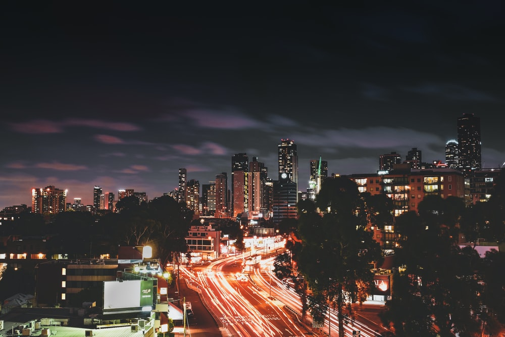 timelapse photography of city at night