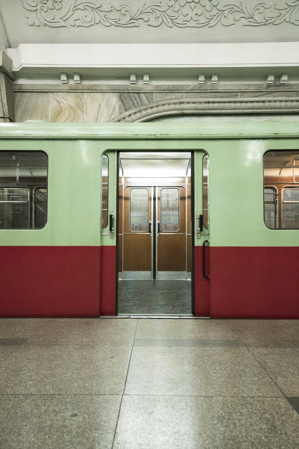 green and red train photo