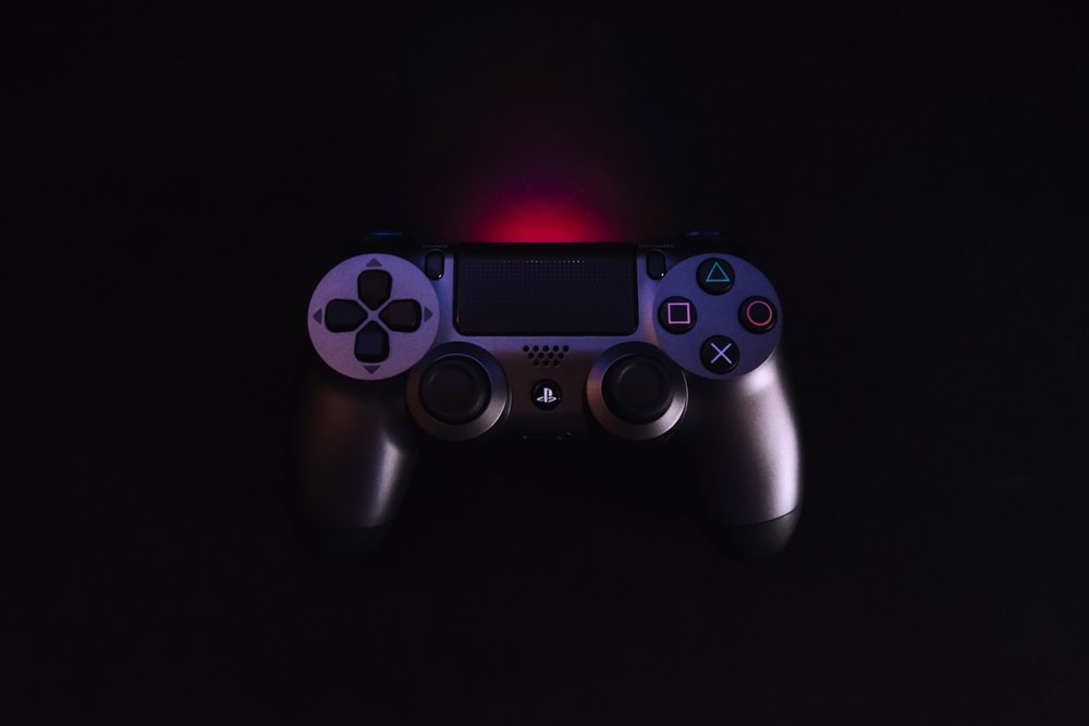 black Sony PS4 dualshock controller