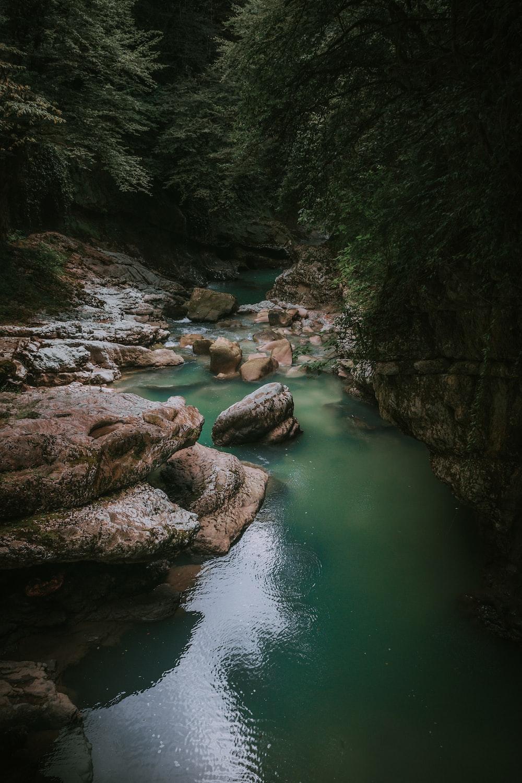 rocks in body of water