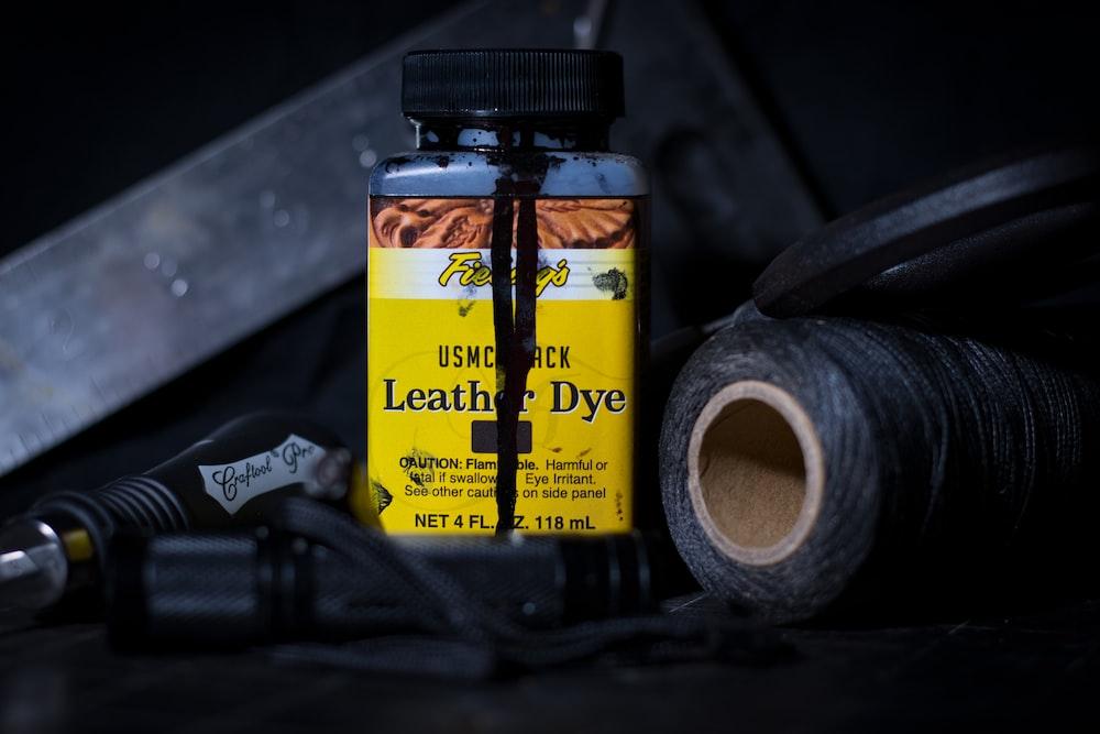 yellow leather dye bottle
