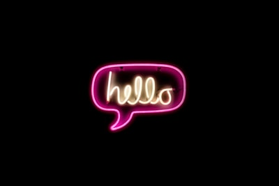 pink and yellow hello neon light neon zoom background