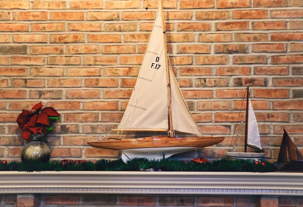 brown sailboat miniature