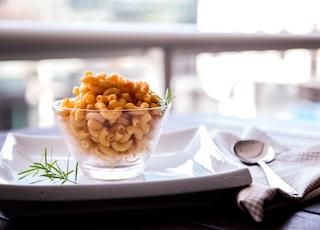 macaroni on glass bowl